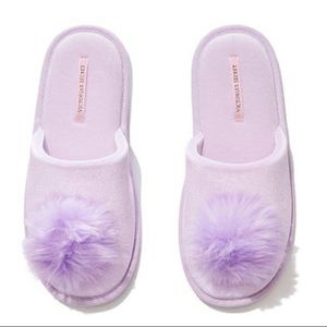 Victoria's Secret Purple Lilac Pom Pom Slippers